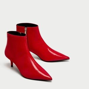 Zara Red Pointy Ankle Boots 37 EUC